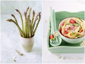 Makaron ze szparagami i truskawkami